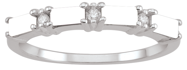 Mother's Sideways Baguette Birthstone and Diamond Accent Alternating Ring (2-4 Stones)