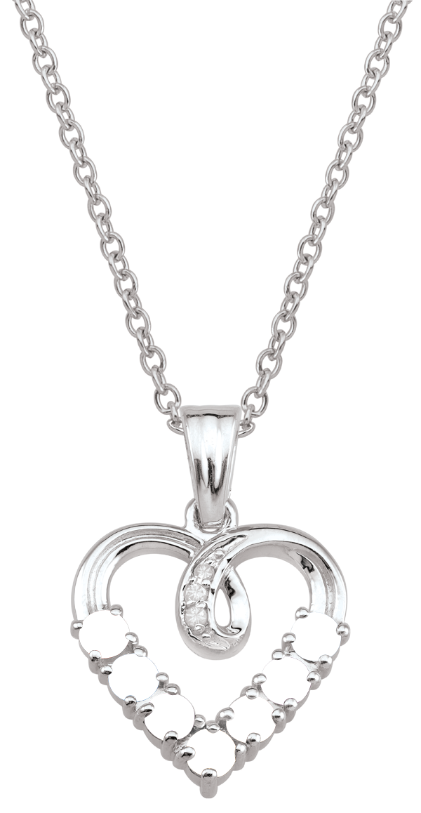 Mother's Birthstone and Diamond Accent Looping Heart Pendant (3-7 Stones)